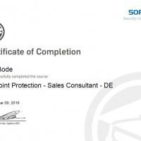 Dirk Bode, LINET Services, Zertifikat Sophos Endpoint Protection